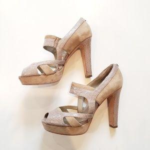 WHBM Tallie Snake Embossed Peep Toe Heel Nude 6.5M